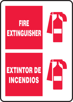 """Bilingual Fire Safety Sign: Fire Extinguisher, 14"""" x 10"""", Pack/10"""