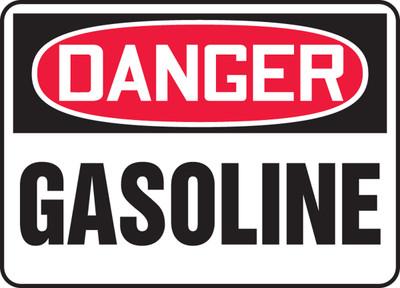 """OSHA Safety Sign - DANGER: Gasoline, 14"""" x 20"""", Pack/10"""