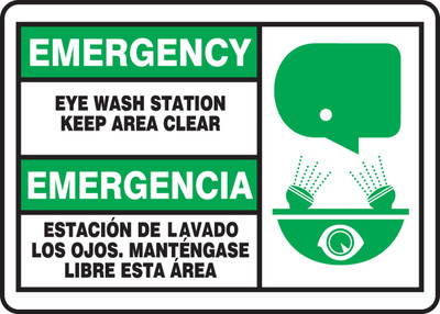 "Bilingual Emergency Safety Sign: Eye Wash Station - Keep Area Clear, 14"" x 20"", Pack/10"