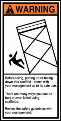 """ANSI Warning Safety Sign: Construction Site - Before Using, Putting Up Or Taking Down This Scaffold, 14"""" x 7"""", Pack/10"""