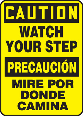 """Bilingual OSHA Safety Sign - CAUTION: Watch Your Step, 20"""" x 14"""", Pack/10"""