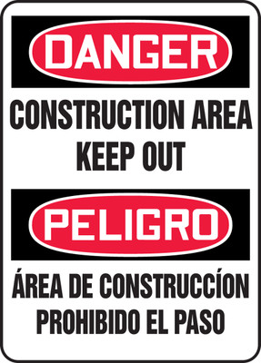 """Bilingual OSHA Safety Sign - DANGER: Construction Area - Keep Out, 20"""" x 14"""", Pack/10"""