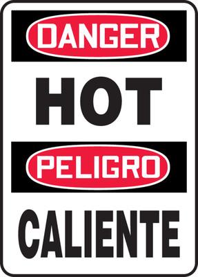 "OSHA Danger Bilingual Safety Sign: Hot / Caliente, 20"" x 14"", Pack/10"