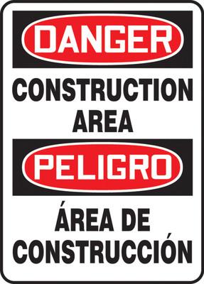 "Bilingual OSHA Safety Sign - DANGER: Construction Area, 20"" x 14"", Pack/10"
