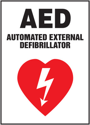 "Safety Sign: AED - Automated External Defibrillator, 20"" x 14"", Pack/10"