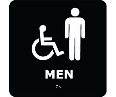 Message & Graphic Ada Braille Handicapped Men Entrance Sign Symbol