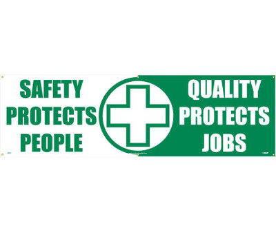 "Safety Protects People Banner Safety Reinforcement & Motivational 36"" X 10'"