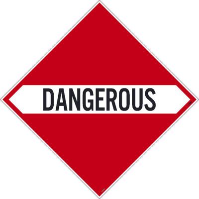 "Dangerous Dot Placard Sign Adhesive Backed Vinyl, 10.75"" X 10.75"""