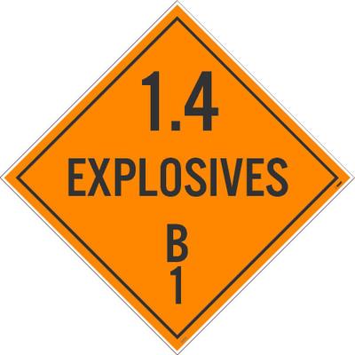 "1.4 Explosives B1 Dot Placard Sign Adhesive Backed Vinyl, 10.75"" X 10.75"""