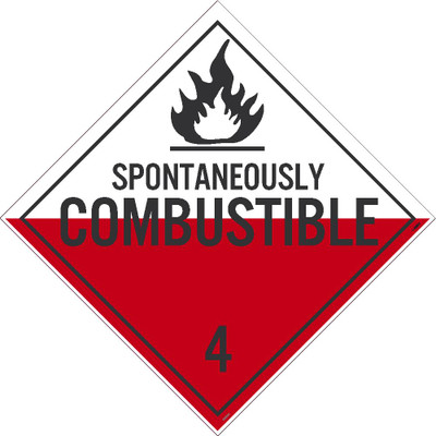 """Spontaneously Combustible 4 Dot Placard Sign Unrippable Vinyl, 10.75"""" X 10.75"""""""