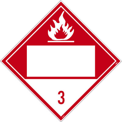 3 Flammable Liquids Blank Dot Placard Pressure Sensitive Removable Vinyl .0045