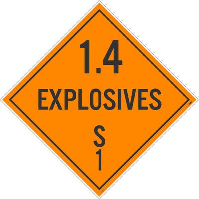 "1.4 Explosives S 1 Dot Placard Sign Unrippable Vinyl, 10.75"" X 10.75"""