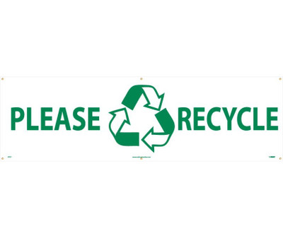 "Please Recycle Banner Polyethylene, 36"" X 10'"