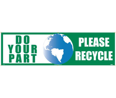 """Do Your Part Please Recycle Banner Polyethylene, 36"""" X 10'"""