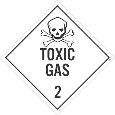 Toxic Gas 2 Dot Placard Sign Pressure Sensitive Removable Vinyl .0045
