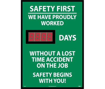 """Safety First We Have Proudly Worked Digital Scoreboard, 28"""" X 20"""""""
