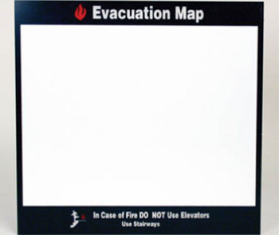 """Evacuation Map In Case Of Fire Sign Acrylic .125, 11"""" X 11.5"""""""