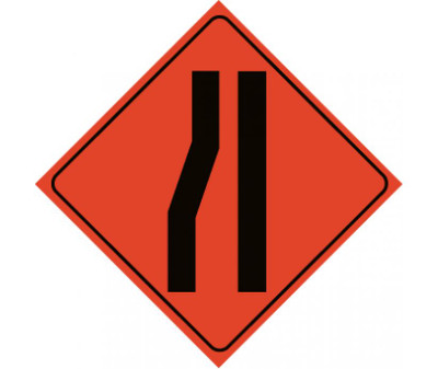 "Reflective Roll-up Merge Right Lane Sign, 48"" X 48"""
