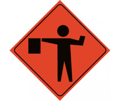 "Reflective Roll-up Flagger Ahead Sign, 48"" X 48"""