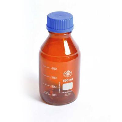 Amber Borosilicate Glass Media Storage Bottles, 500mL, case/10