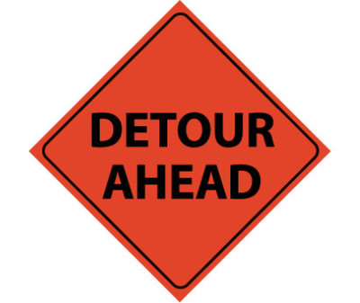 """Reflective Roll-up Detour Ahead Sign ,48"""" X 48"""""""