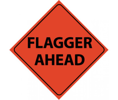 "Reflective Roll-up Flagger Ahead Sign Nylon, 48"" X 48"""