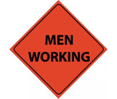 """Reflective Roll-up Men Working Sign Nylon, 48"""" X 48"""""""