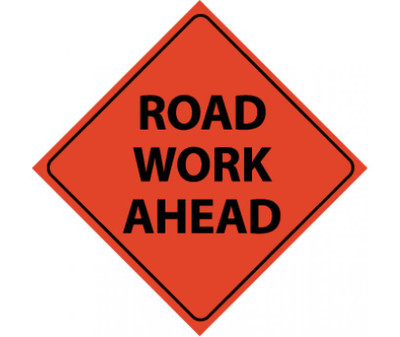 """Reflective Roll-up Road Work Ahead Sign Nylon, 48"""" X 48"""""""