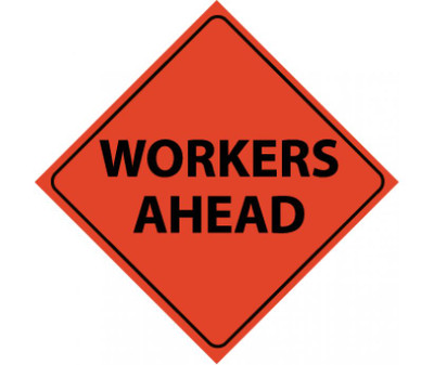 """Reflective Roll-up Workers Ahead Sign Nylon, 48"""" X 48"""""""