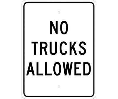 """No Trucks Allowed Sign Heavy Duty Reflective Aluminum, 24"""" X 18"""""""