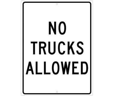 "No Trucks Allowed Sign Heavy Duty High Intensity Reflective Aluminum, 24"" X 18"""
