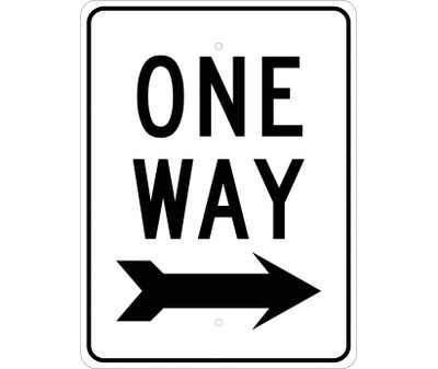"One Way Sign Heavy Duty High Intensity Reflective Aluminum Graffiti Proof, 24"" X 18"""