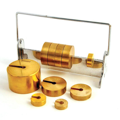 Deluxe Slotted Brass Weight Set with Rack, 10-500 grams, Set of 10