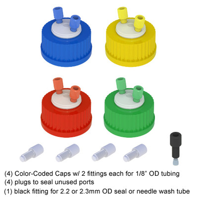 Color Coded HPLC Solvent, Delivery Cap, GL-45, 4-pack