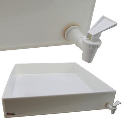 "Dispensing Lab Tray with Spigot, HDPE, 37 Liter, 22 x 26 x 4"""