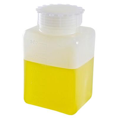 Square Bottles, Graduated HDPE, 500mL, case/36