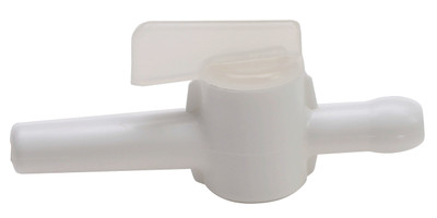8mm Miniature Stopcock for Low Vacuum liquid or gas, Polypropylene, case/10