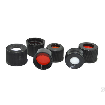 """13-425 PP Hole Cap, Red PTFE/Silicone 0.065"""" Septa, case/1000"""