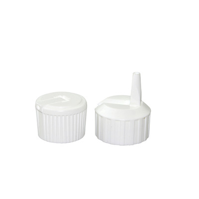 24-410 White Polyethylene Unlined Flip Top Cap Packed in bags of 12, case/144
