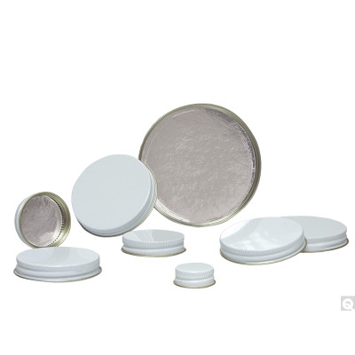 48-400 White Metal Cap, Pulp/Aluminum Foil Liner, Packed in bags of 12, case/576