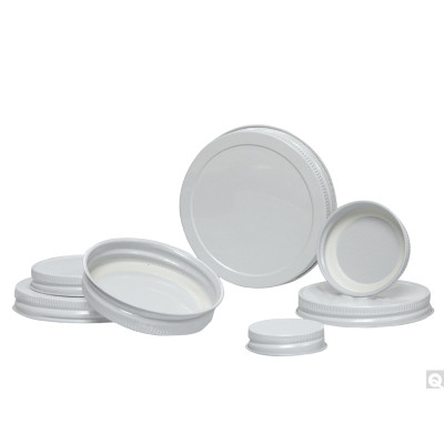 58-400 White Metal Cap, Plastisol Liner, Packed in bags of 144, case/576