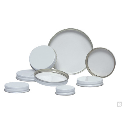 63-400 White Metal Cap, Pulp/PE Liner, Packed in bags of 12, case/288