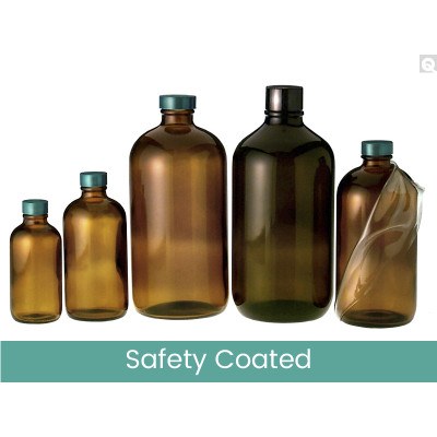 8oz (240mL) Safety Coated Amber Boston Round, 24-400 Green Thermoset F217 & PTFE Lined Caps, case/108