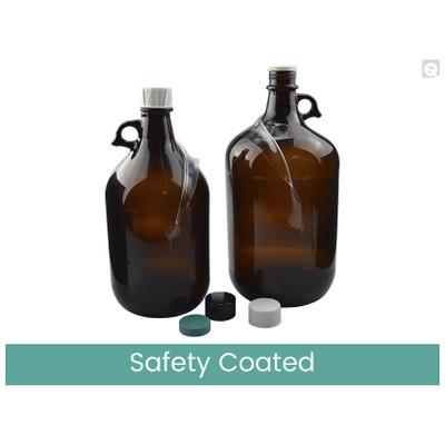 4L Safety Coated Amber Glass Jug, 38-439 Phenolic F217 & PTFE Lined Caps, Vacuum & Ionized, case/6