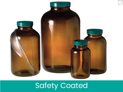 8.5 oz (250mL) Safety Coated Amber Wide Mouth Packer Bottles, 45-400 Phenolic Pulp/Vinyl Lined Caps, case/24