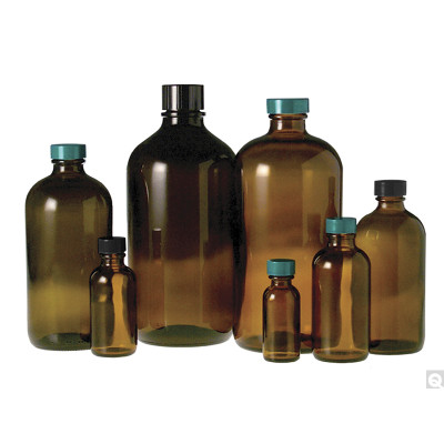 33oz (1000mL) Amber Glass Boston Round, 33-430 Phenolic F217 & PTFE Lined Caps, case/12