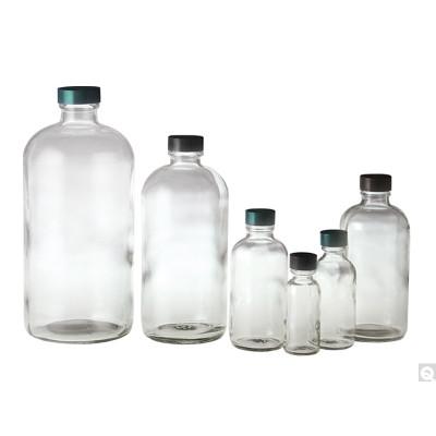 8oz (240mL) Glass Boston Round, 24-400 Phenolic PolyCone Lined Caps, case/24