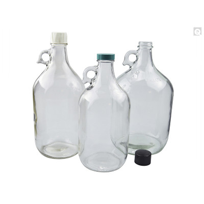 64oz Clear Jug, 38-400 Phenolic Polyseal Cone Lined Caps, case/6