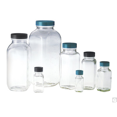 16oz (480mL) Clear French Square, 48-400 Phenolic F217 & PTFE Lined Caps, case/24