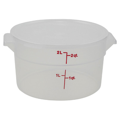 Graduated Round Containers, Polypropylene with Lid, 2 Qt, case/12
